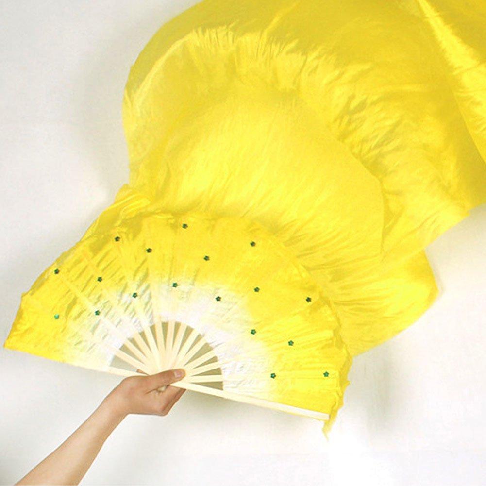 Sedensy - Ventiladores de bambú para Danza del Vientre, bambú, Hechos a Mano con Seda para Danza del Vientre, 1,8 m, Multicolor bambú