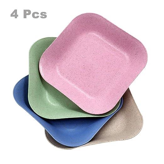 Goter 4 PCS Platos de Cena de Paja de Trigo de 7pulgadas, Aptos ...
