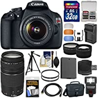 Canon EOS Rebel T5 Digital SLR Camera & 18-55mm IS II & 75-300mm III Lens & Case + 32GB Card + Flash + Battery & Charger + Tripod + Tele/Wide Lens Kit Basic Facts Review Image