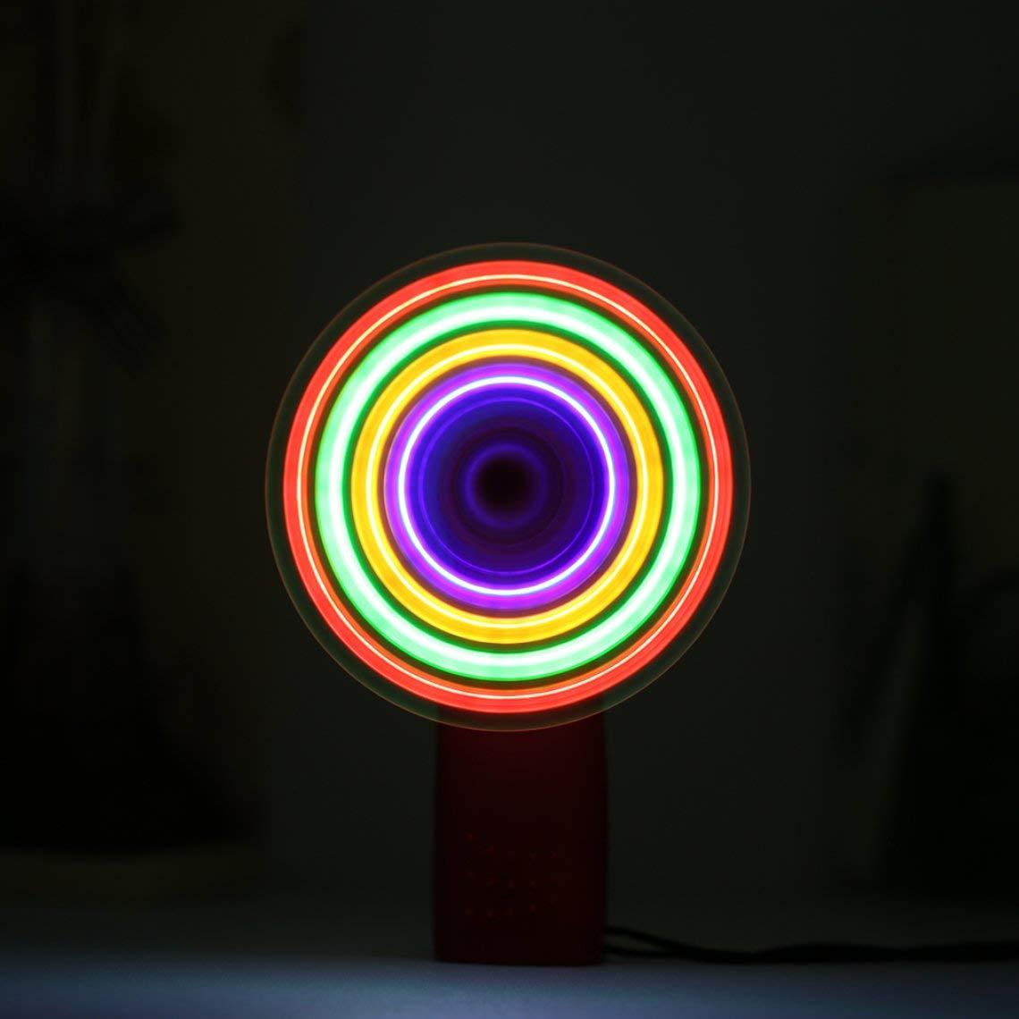 Momorain Ventilador de mano port/átil Colorido LED Mini Luz Bater/ía Energ/ía W//Correa Nuevo