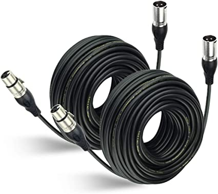 "2 Pack Lot 100ft XLR 3-Pin Male to 1//4/"" Mono Shielded Microphone Mic Audio Cable"