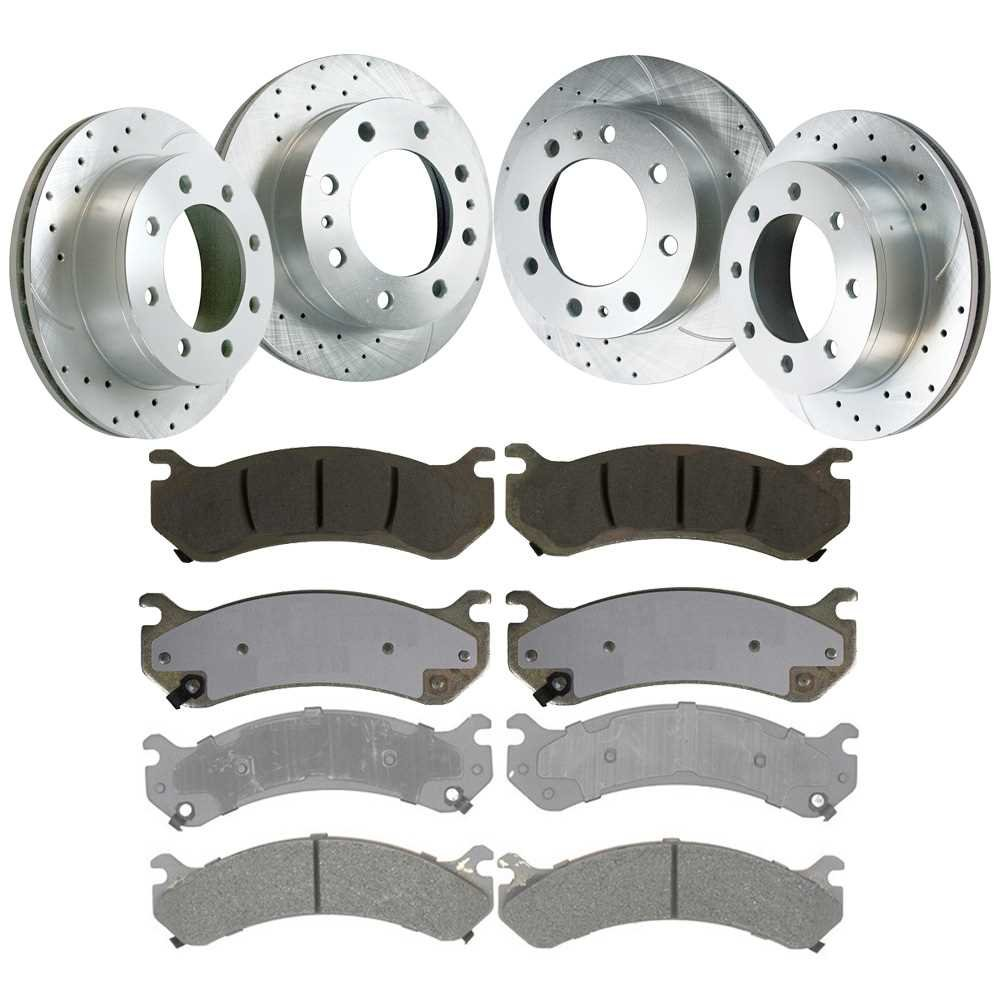 Prime Choice Auto Parts BRKPKG039861 Sets of Front//Rear New Performance Silver Brake Rotors and Semi Metallic Pads