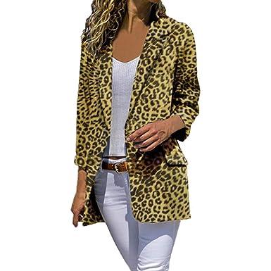 Linlink Abrigo de Mujer LiquidacióN Temporada De OtoñO E Invierno Chaquetas De Manga Larga Chaquetas De Leopardo Abrigos Abiertos Frente Outwear: Amazon.es: ...