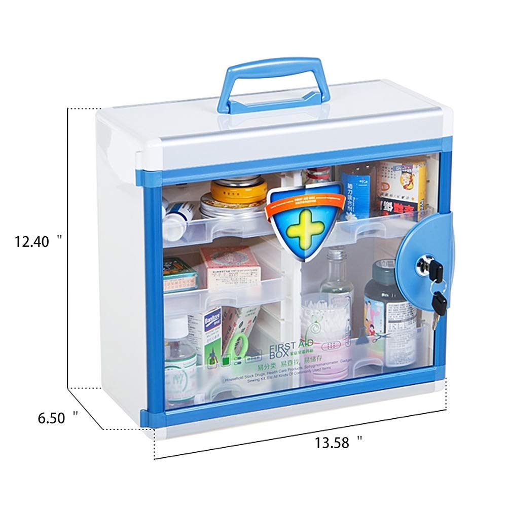Glosen First Aid Box Lockable Medicine Box with Wall Mounted Function 13.6x6.5x12.4 Inch Blue by Glosen (Image #4)