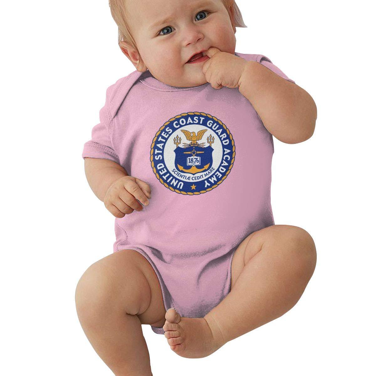 United States Coast Guard Academy Logo Fashion Newborn Baby Short Sleeve Bodysuit Romper Infant Summer Clothing Black