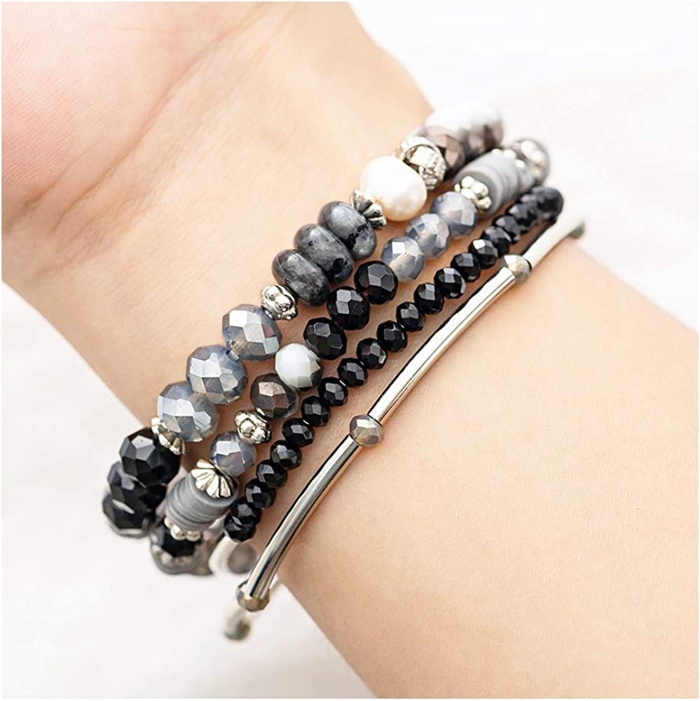 7Pcs Colorful Small Beads Bohemia Bangle Elastic Bracelet Set Jewelry Accesso Z8
