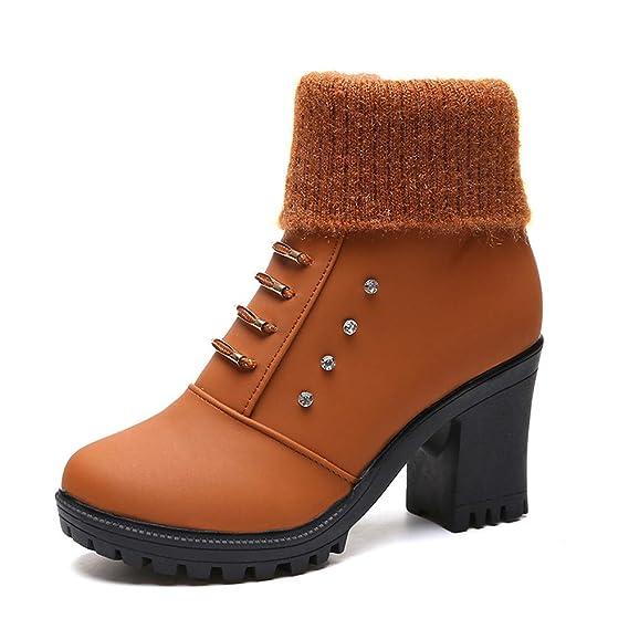 ZEZKT Bottes Femme - Boots Bottines à Strass Bottines en Cuir Boots Talons  Boots Classiques Chaudes 85ab736b36c9