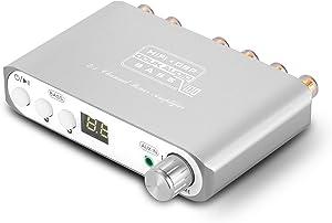 Q100 2.1 Channel Hi-Fi Bluetooth 5.0 Power Amplifier Class D Mini Stereo Audio Amp Speaker Subwoofer Wireless Receiver 80W+40Wx2 Dual DSP (Silver)