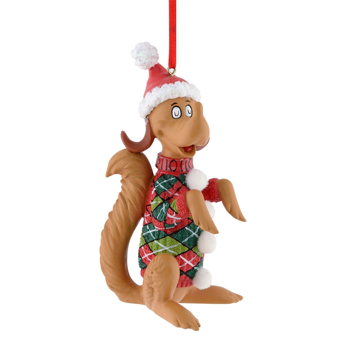 Department 56 Grinch Max Argyle Sweater Ornament, 3.75 inch