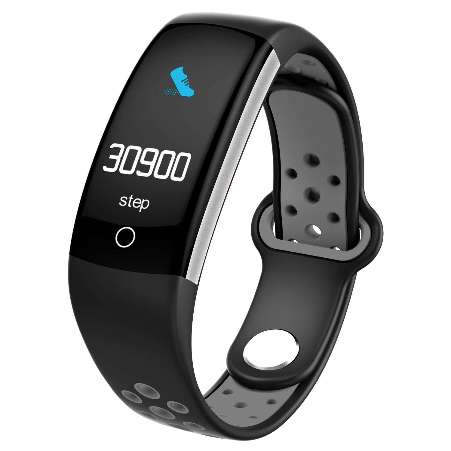 Grey Smart blueeetooth Bracelet, Heart Rate and Blood Pressure Monitoring, IP68 Waterproof Sports Watch, Smart Reminder, Fitness Tracker
