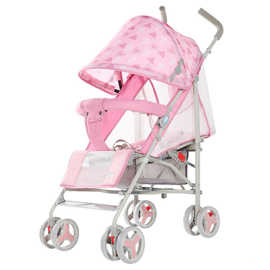 HAIZHEN マウンテンバイク プッシュプッシュプッシュ軽量Foldableは、子供のトロリーを横たえて座ることができますフルネットワーク換気調節可能な天井炭素鋼EVAフォームショックアブソーバーホイール赤ちゃんキャリッジ38 * 61 * 102cm 新生児 B07DS2RFF6 ピンク ぴんく ピンク ぴんく