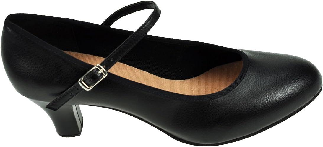 "Capezio 550 Junior Tan Footlight Character Chaussures-Scène Chaussure 1.5/"" Talon"