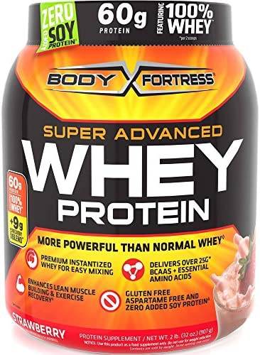 2lbs Body Fortress Super Advanced 60 Gram Whey Protein Creatine Glutamine Optimum Muscle Gain Fitness Blend Powder Choose From 5 Flavors STRAWBERRY