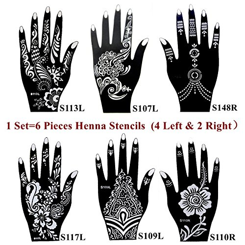 6 pieces india henna tattoo stencil for women girl hand art painting