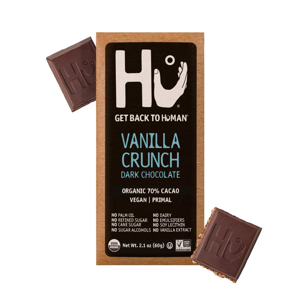 Hu Chocolate Bars   4 Pack Vanilla Crunch Chocolate   Natural Organic Vegan, Gluten Free, Paleo, Non GMO, Fair Trade Dark Chocolate   2.1oz Each