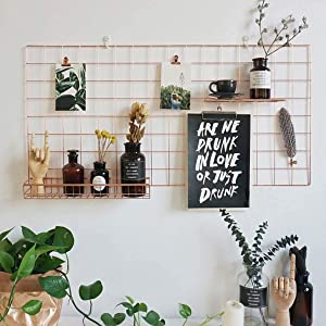 BULYZER Grid Wire Board,for Memo Picture Panel Wall Decoration for Room Office Mat Photo Hanging Art Display Frames Desk Storage Organizer