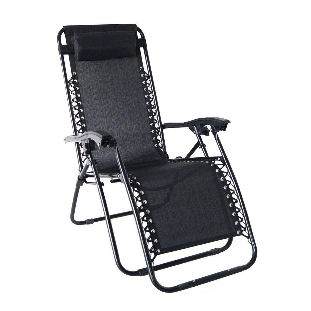 amazoncom odaof zero gravity recliner lounge patio pool chair black patio lawn u0026 garden - Zero Gravity Chair