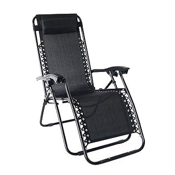 Odaof Zero Gravity Recliner Lounge Patio Pool Chair, Black