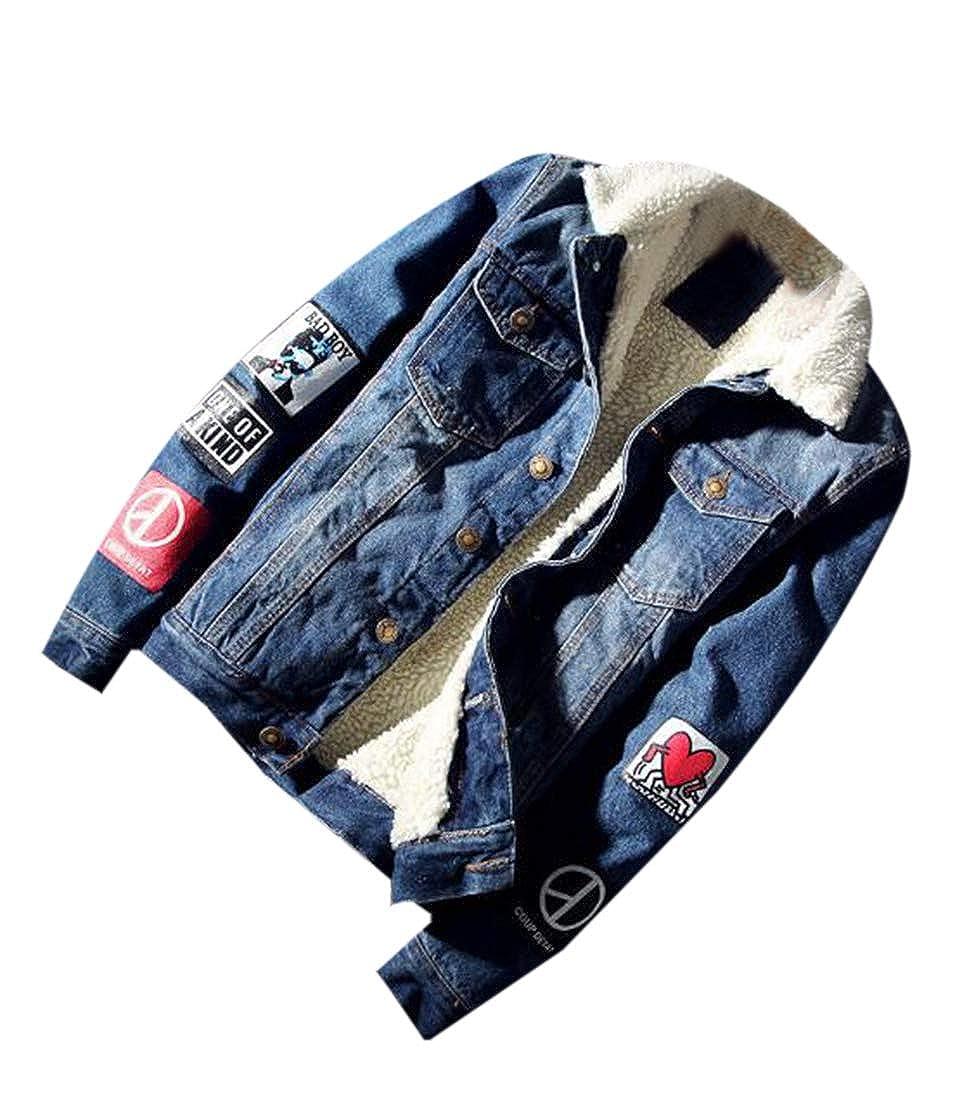 JXG Men Thickened Fleece Button Down Denim Lamb Slimming Puffer Jacket