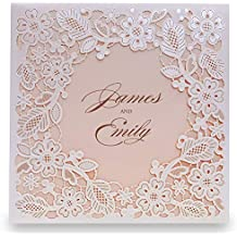 Doris Home Square Ivory Laser-cut Lace Flower Pattern Wedding Invitations Cards Kit With Pink Inner Sheet 1pcs,CW5197
