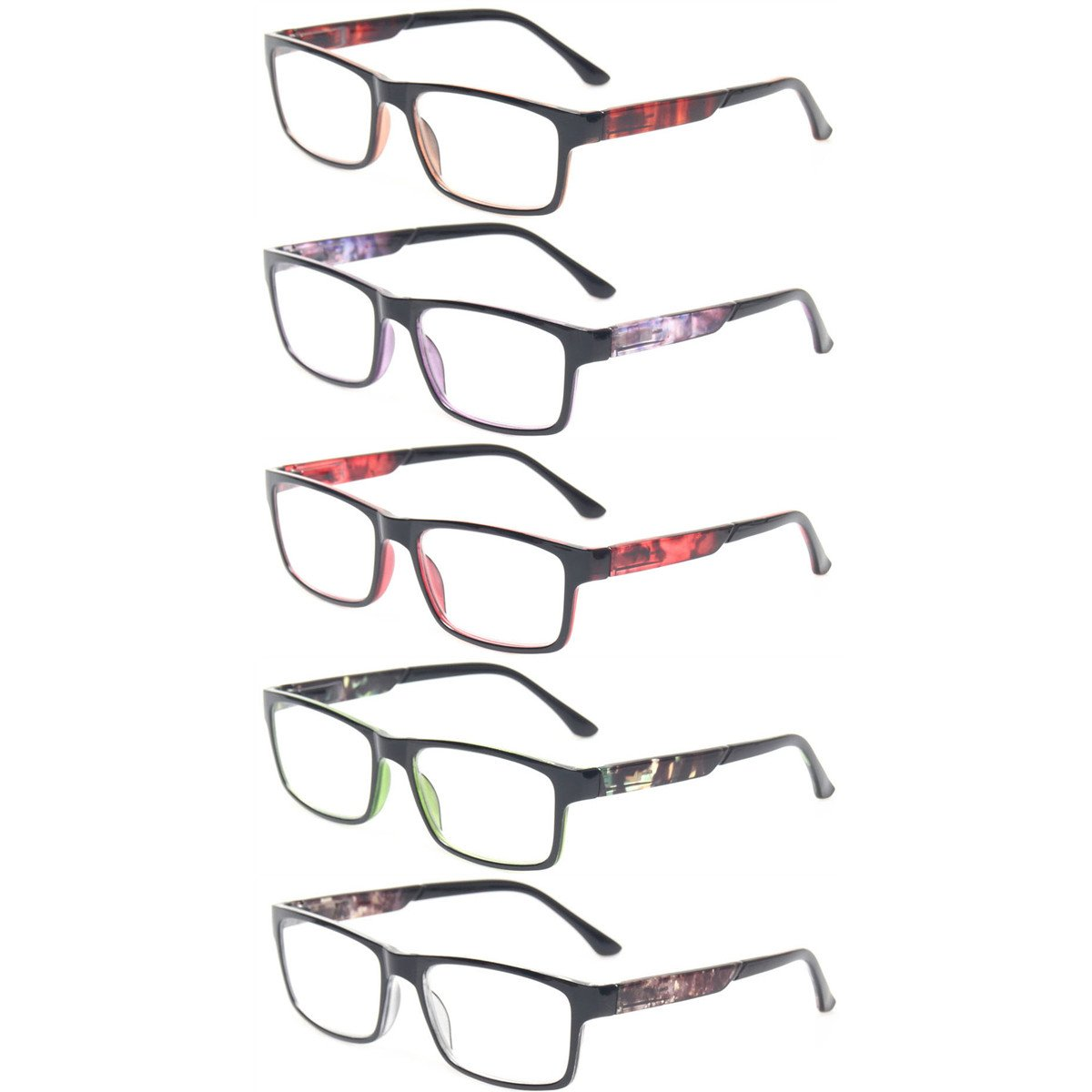 Reading Glasses 5 Pack Spring Hinge Rectangular Readers Quality Fashion Glasses (5 Pack Mix Color, 1.25) by Kerecsen
