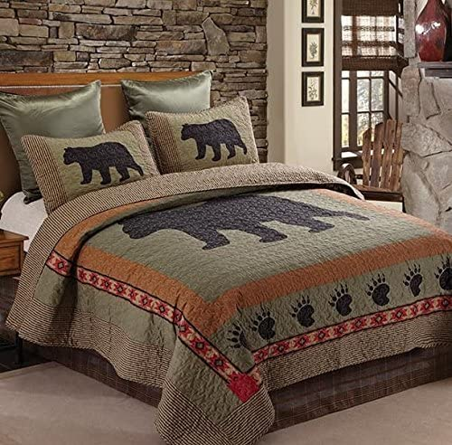 Virah Bella Bear and Paw Quilt & Sham Set + Matching Quilt Throw (King)