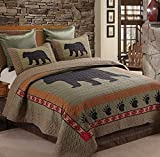 Virah Bella Bear and Paw Quilt & Sham Set + Matching Quilt Throw (Cal King)