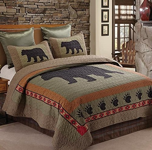 Virah Bella Bear and Paw Quilt & Sham Set + Matching Quilt Throw (Queen/Full