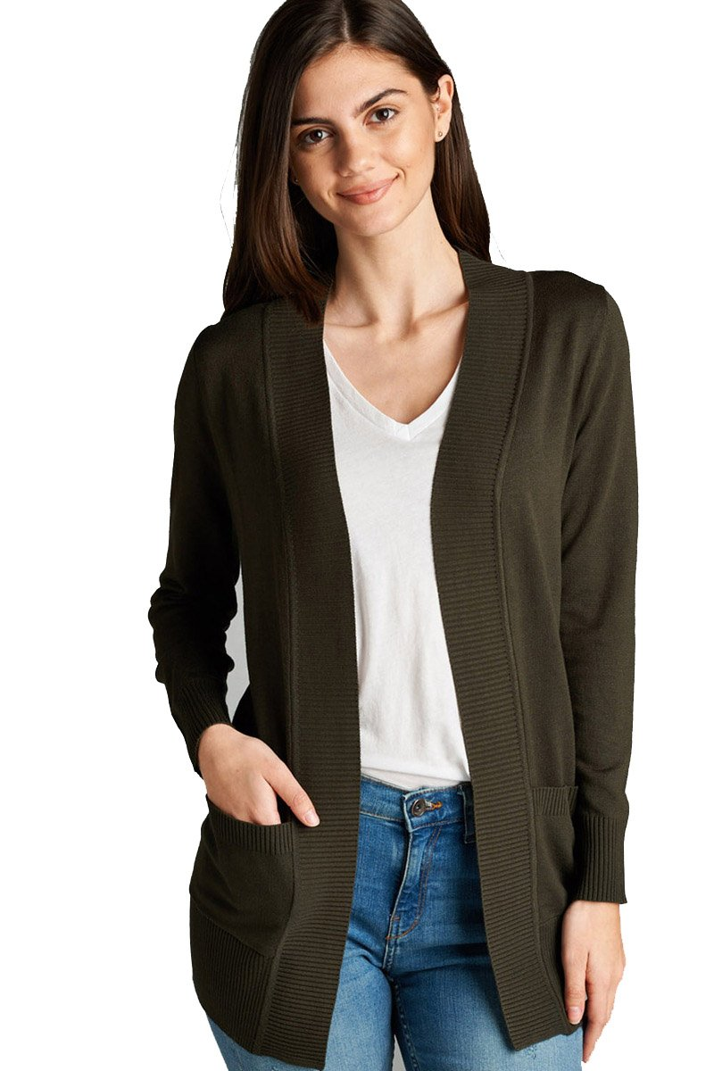 YourStyle Women Open Front Long Sleeve Classic Knit Cardigan (1X, Dark Olive)