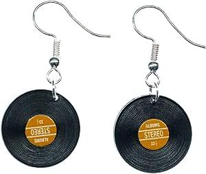Miniblings registra pendientes LP - banda de la música hecha a mano joyas de moda I DJ vinilo rojo - pendientes de plata pendientes