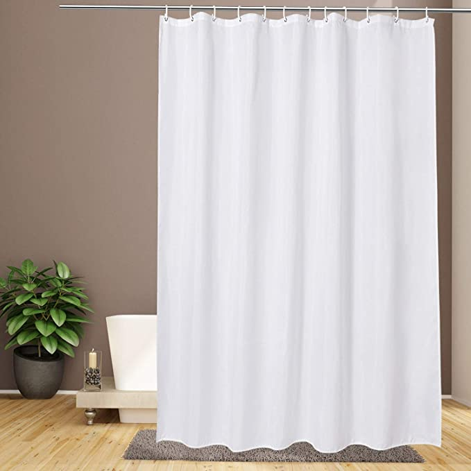 Amazon Com Eurcross Extra Long Shower Curtain 72 X 84inch Water Repellent Weighted Bottom Fabric Solid White Shower Curtain Liner For Bathroom Kitchen Dining