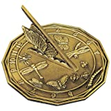"Rome Industries 2318 Butterfly Sundial, Solid Antique Brass, 8.5"" Diameter"