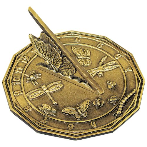 Brass Butterfly Sundial - Rome 2318 Butterfly Sundial, Solid Antique Brass, 8.5-Inch Diameter