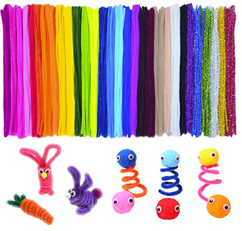 - Acerich 600 Pcs Assorted Colors Pipe Cleaners DIY Art Craft Decorations Chenille Stems (6 mm x 12 Inch)