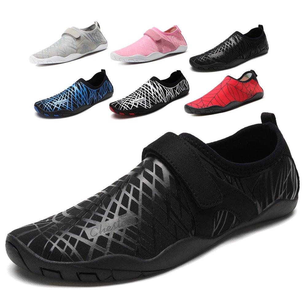 Cheston Men's Barefoot Quick Dry Aqua Water Shoe (13 D(M) US, All-Black)
