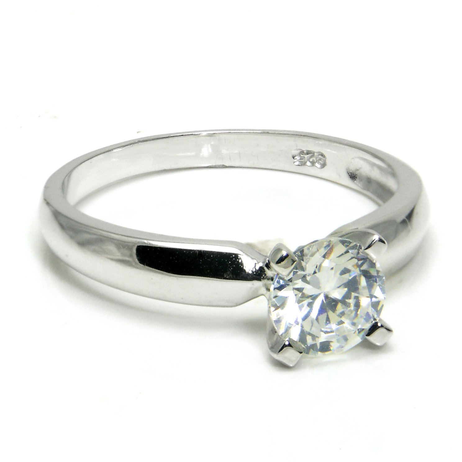 Metal Factory Sz 4 Sterling Silver Cubic Zirconia Solitaire 1.25 Carat tw Round Cut 4-Prong Set CZ Engagement Ring