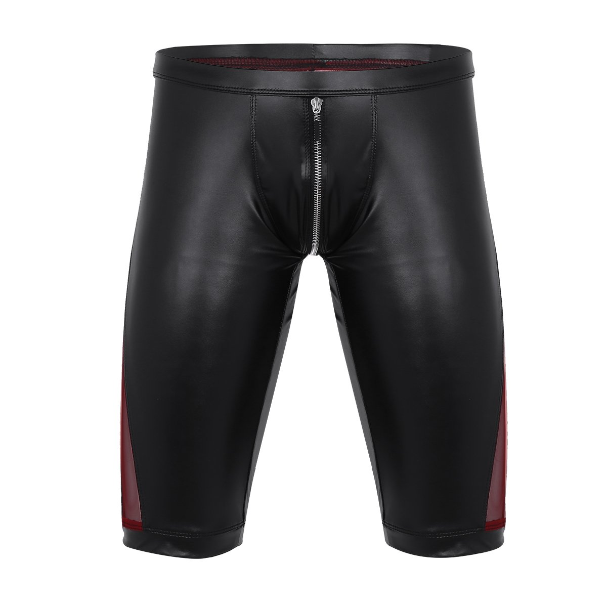 iEFiEL Men Open Pouch Wet Look Lacing Jockstrap Shorts Underpants Zip Legs Underwear