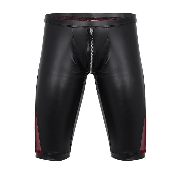 YiZYiF Lencería Hombre Sexi Ropa Interior Atractivo Calzoncillos Bóxer Pantalones Cortos de Cuero Brillante Negro M