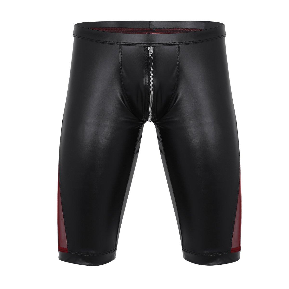 ACSUSS Men's Faux Leather Trunks Mesh Splice Zipper Crotch Boxer Shorts Underpants Black X-Large