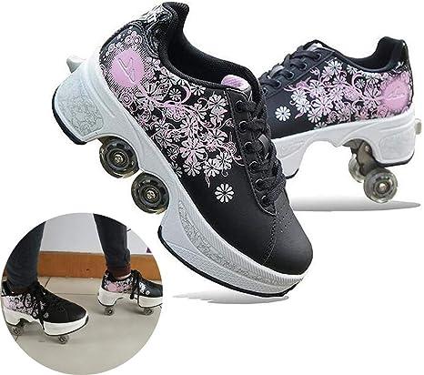 Pinkskattings@ Zapatillas De Patinar Deformación Zapatillas De Parkour con Cuatro Rondas De Zapatillas para Correr Niñas Niños Ruedas para Adultos Hombres Zapatos con Ruedas para Mujer Negro: Amazon.es: Deportes y aire libre