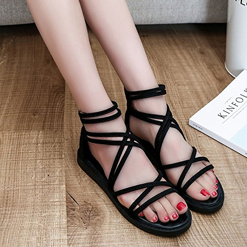 SKY Comfortable to wear it !!! Sandalias planas bohemias con correas Sra Bandage Bohemia Leisure Lady Sandals Peep-Toe Outdoor Shoes Negro