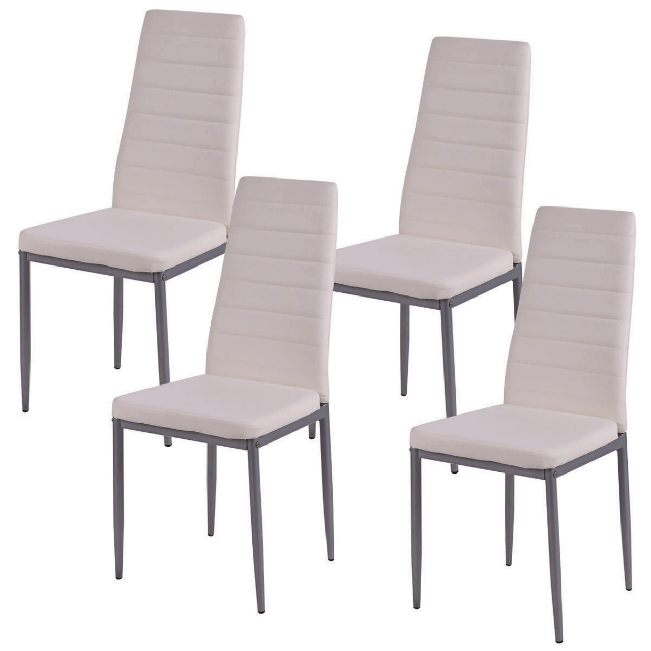 Set of 4 Elegant Dining Chairs Modern Design Comfortable Home Office Furniture/ White #1007