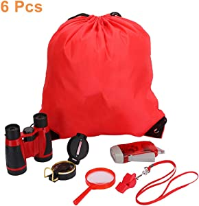 Outdoor Explorer Kits, Kids Adventure Set with Binoculars, Hand Crank Flashlight, Compass, Magnifying Glass, Whistle, and Drawstring Backpack, Exploration Set for 3-12 Years Boys and Girls (Red)
