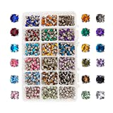 PandaHall Elite 900pcs Sew on Acrylic Rhinestone Faceted Montee Five-Hole Beads with Brass Base 5x5x4mm for Jewelry Making Mixed Color