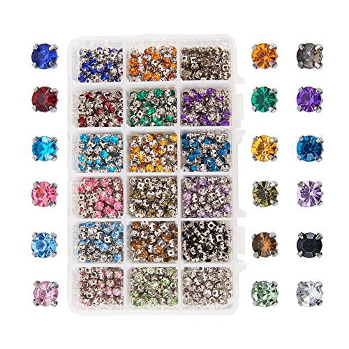 PandaHall Elite 900pcs Sew on Acrylic Rhinestone Faceted Montee Five-Hole Beads with Brass Base 5x5x4mm for Jewelry Making Mixed Color by PH PandaHall
