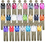 5pc Baby Toddler Kid Boy Formal Suit KHAKI Pants Shirt Vest Bow tie Hat Set 5-7 (Size: 5, Royal Blue)