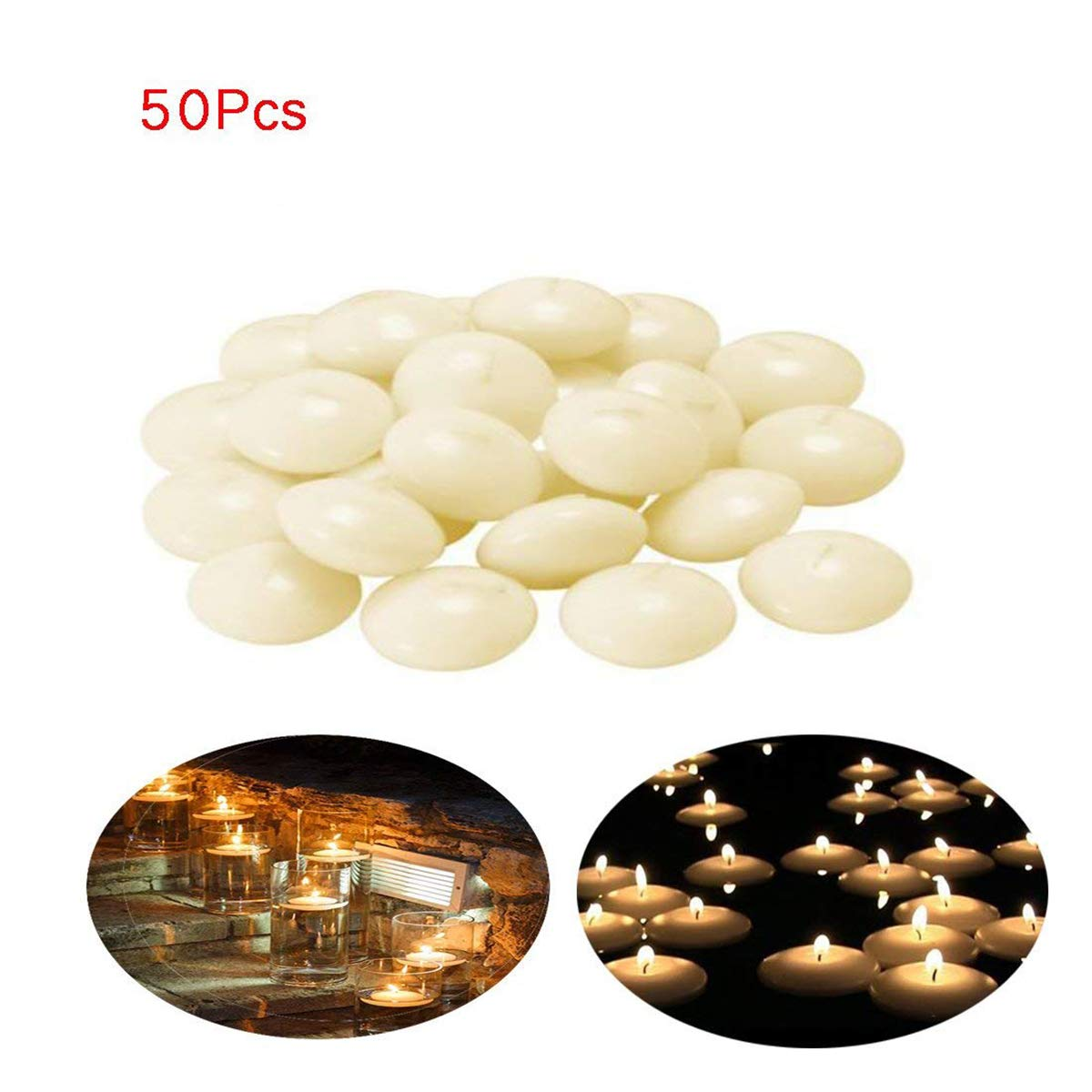 50 Pieces Unscented 1.5 Inch Small Water Floating Disc Candles for Centerpieces,Wedding,Party and Home Decoration