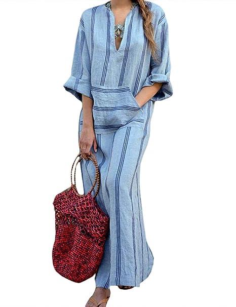 53254ba10ac HAHAEMMA Señoras Vestidos Vestido Maxi Vestido Suelto Manga Larga Retro  Lino Algodón Vestidos Largos Blusa Elegante Ancho Casual Vestidos de Verano  Señoras ...
