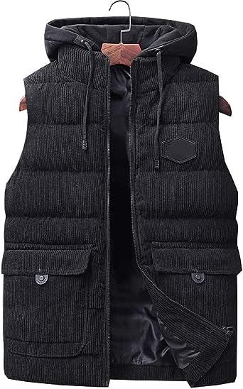 Duyang Mens Winter Warm Corduroy Puffer Vest Removable ...