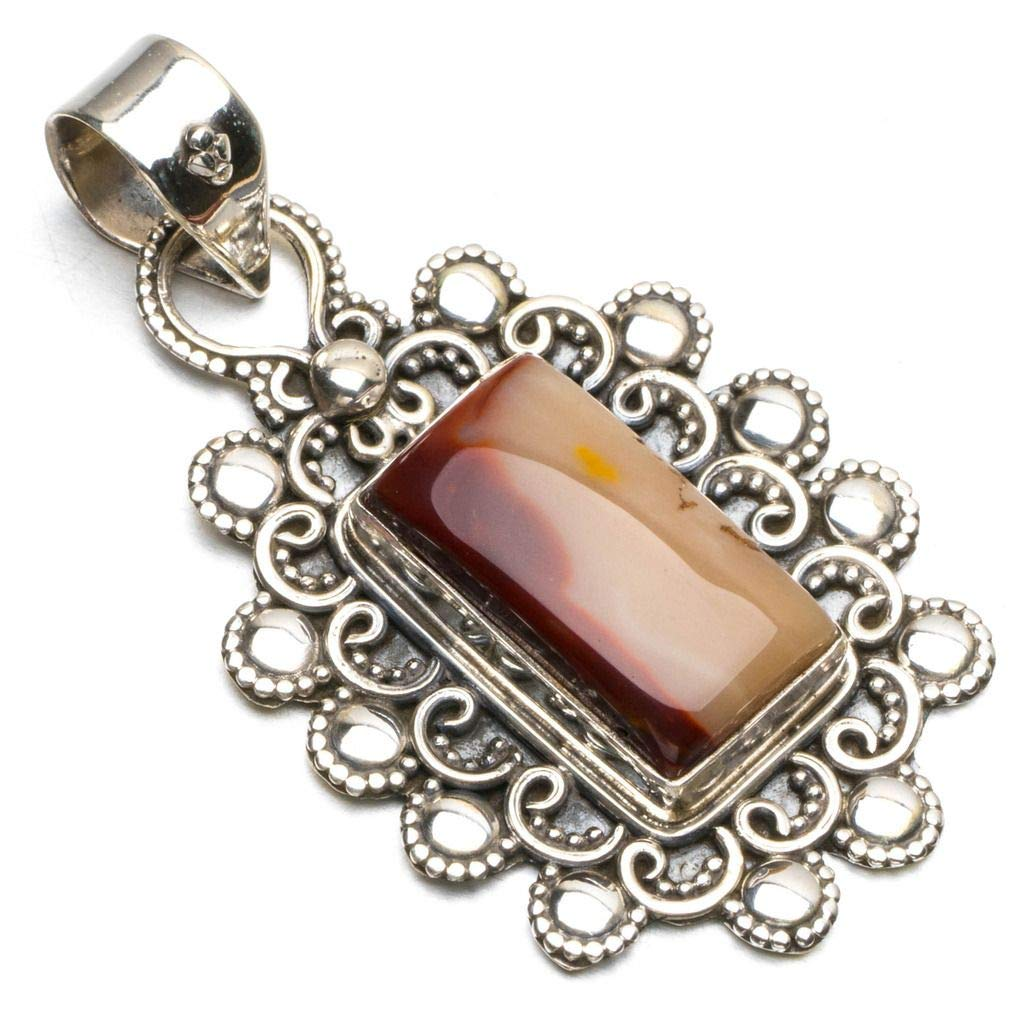 Natural Royal Imperial Jasper Boho Style 925 Sterling Silver Pendant Necklace 1 3//4 R0535